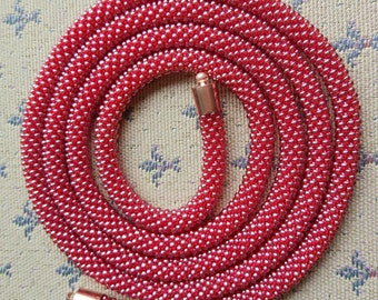 Handmade crocheted knitted beaded necklace rapsbery colour