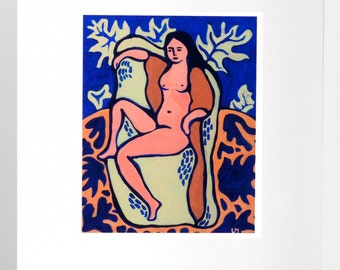 Painting naked woman, art print, limited edition, Fine Art paper.