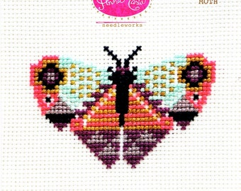 Modern Cross Stitch Pattern | Anna Maria Horner Needlework - Moroccan Moth Pattern