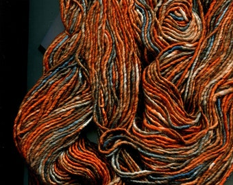 Curious Creek Yarn. Oban in colorway Autumn in New England. Silk and Merino Wool. New