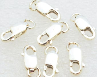 25 pc. Sterling Silver Lobster Clasp, 4 x 8.5mm with Open Jump Ring, 925 Sterling Silver, USA Seller, Fast Shipping (S162)