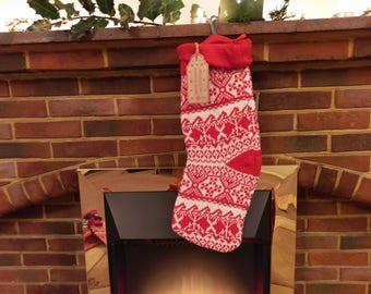 Christmas stocking knitted tradittional Wrapped by Santa's Elves Wooden tags Elf Christmas Tags