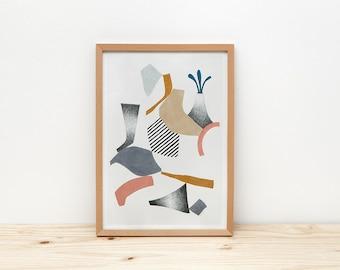 Volcano art print, illustration by depeapa, geometric volcano, abstract wall art, A4 poster, modern art, wall decor, home decor