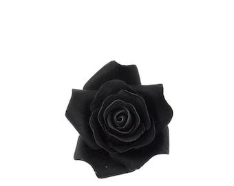 Small Black Rose Sugar Flower Wedding Cake Topper Gumpaste Flowers Unique Cake Topper