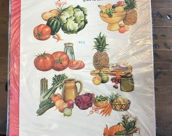 Vintage 1979 Decalart, Kitchen, Vegetables, Cornucopia, Fruit, Cannister Set, Bread Box (B996)