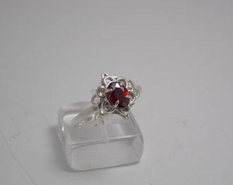Vintage Sterling Silver HandCrafted Ring Red Stone