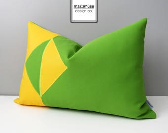 Decorative Lime Green & Yellow Outdoor Pillow Cover, Modern Geometric Color Block, Sunbrella Pillow Case, Cushion Cover, Mazizmuse Eclipse