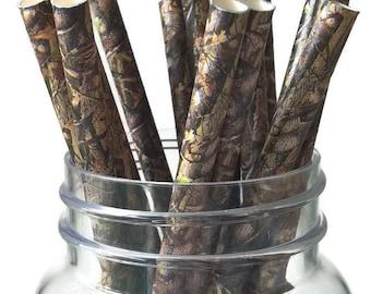 camo straws, camouflage party decorations, graduation ideas, Fathers Day, mens birthday, retirement celebration, woodland wedding, bachelor
