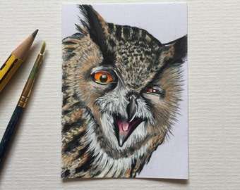 Eagle Owl original ACEO/ Artists trading card. Coloured pencil. Free UK delivery.