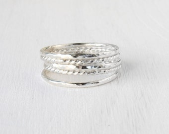 GET 1 FREE WITH Five Stacking silver rings / hammered and twisted wire stacking rings in shiny silver / simple silver stacking ring Handmade
