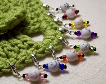 8 Little Charmers - Clip On Stitch Markers - Crochet or Knit - Happy Heads