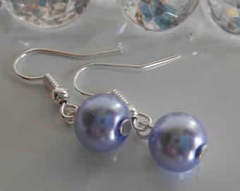 Earrings wedding Lavender beads