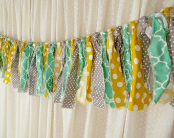 Rag Tie Garland, Hand Torn Fabric Garland, Shabby Chic Decor, Frayed Fabric Banner, Mustard Yellow Grey Teal  Photo Prop