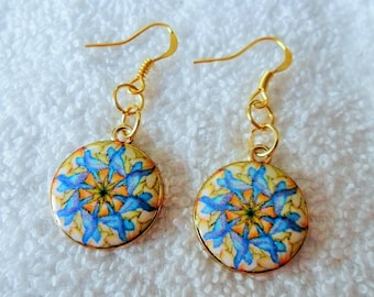 Pendant earrings round blue enameled metal yellow - anti allergic and nickel free posts