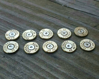 45 Auto  Caliber Bullet End Slices- Federal  , brass   (lot of 10)
