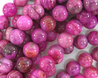 "8mm purple pink crazy lace agate round beads 15.5"" strand 34459"