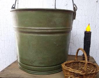 Galvanized Metal Bucket / Farmhouse Style Painted Green Galvanized Metal Bucket / Painted and Antique Waxed Galvanized Metal Bucket