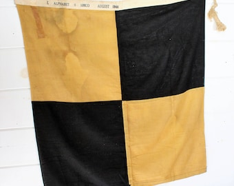 """1944 Linen Nautical Signal Flag - 34"""" - """"L"""" - Lima - Boating - Yellow - Blue"""