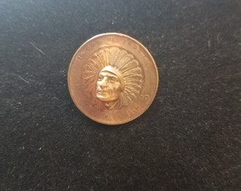 Pop Out or Repousse 1930 Penny with Indian Chief