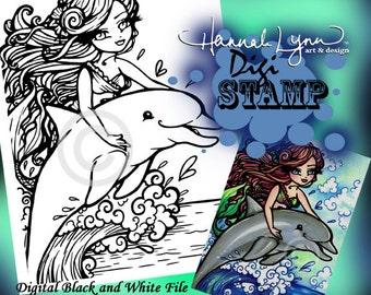 PRINTABLE Dolphin Mermaid Fantasy Art Digi Stamp Coloring Page Fantasy Art Hannah Lynn