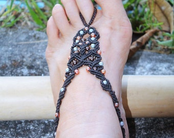 Pair - Barefoot Sandals brown pearly / Foot Jewelry / Macrame Jewely