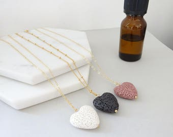 Heart Lava Stone Diffuser Necklace, Black Lava rock Necklace, Essential Oil jewelry, Aromatherapy necklace, Gold fill lava necklace