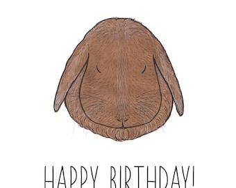 Lop Bunny Card/Rabbit Birthday Card/Funny Card