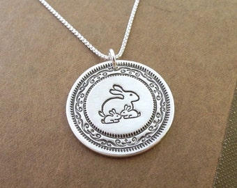 Mother and Twin Rabbit Necklace, Mom and Two Kids, Family Necklace, Twin Jewelry, Fine Silver, Sterling Silver Chain, Made To Order