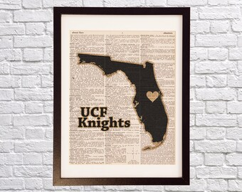 Central Florida Knights Dictionary Art Print - Orlando Art - Print on Vintage Dictionary Paper - University of Central Florida Print - UCF