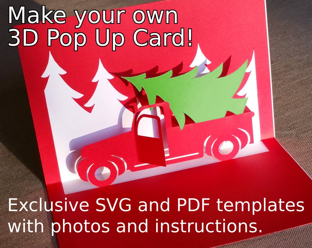 Christmas Truck Popup Card Template Svg Pdf For Cricut