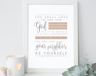 Matthew 22:37-39 Bible Verse Print, Scripture Wall Art, Typographic Print, Greatest Commandment, Matthew Print, Wall Quote, Art Print
