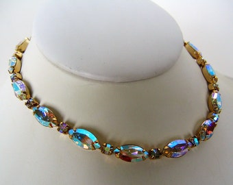 RHINESTONE CHOKER NECKLACE Aurora Borealis Gold Tone Collectible Vintage Costume Jewelry Bridal Wedding Jewelry