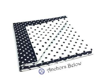 Black and White Polka Dot Pocket Square Double Sided - White and Black Pocket Square