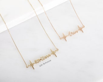 14k GOLD FILL | Custom Heartbeat Necklace | Personalized Children Name Necklace | Dainty Necklace | Graduation Gift for Nurse | Doctor Gift