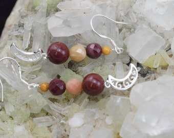 Mookaite and Sterling Silver 925 earrings