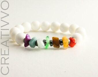 8mm Chakra Bracelet, Hematite, Amazonite, Aquamarine, Amethyst, Coral, Tiger eye, Agate, Carnelian & Nacre - Women Bracelet, Beaded Bracelet
