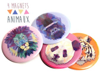 4 magnets animals lion Tiger panda graphic colorful blue orange pink Gorilla 56 mm