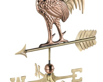 Proud Rooster Weathervane with Roof Mount - Pure Copper & Brass