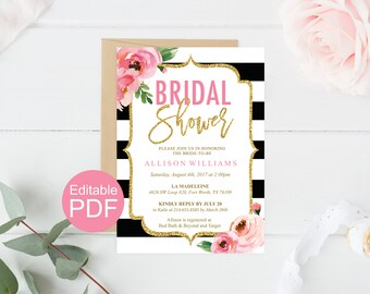 Floral Bridal Shower Invitation Template, Kate Bridal Shower Invites, DIY Printable Wedding Shower, Black and White Stripes, Editable PDF