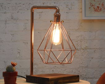 Copper Table Lamp Wood Base  Diamond Copper Cage Modern Industrial  Antique Edison Lamp Industrial Table Lighting