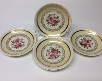 "6- Johnson Brothers Windsor Ware "" Garden Rose"" Cup Saucers, No Cups!! 1930's"