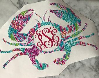 Crab Monogram Vinyl Decal: Lilly Inspired