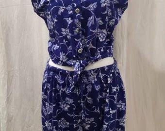 Vintage Liz & Co. 2 piece shorts set size large 100% Cotton
