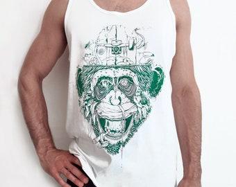 Tank top man handprinted Giungla Urbana jungle edition