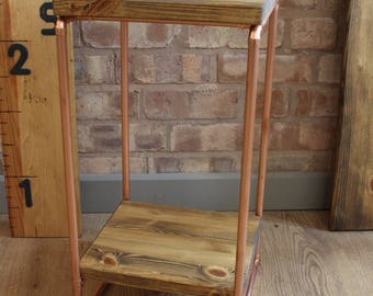 Bespoke Rustic Industrial Handmade Pine and Copper Pipe Side Table / Bedside Table