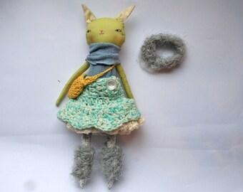 "spunky little green cat lu girl doll - 13""ish handmade cloth doll - light green, blue, gold, fuzzy grey cat"