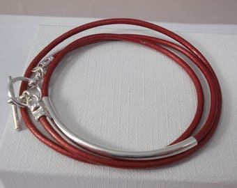 Red leather wrap bracelet, silver plated charm friendship bracelet,silver tube leather bracelet, girls friendship bracelet, BFF bracelet