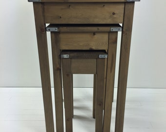 Rustic Nesting Side Tables - Farmhouse Wooden Table - Industrial Side Table - Rustic Chic Tables - Magnolia Tables