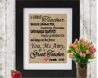 A Great Teacher - Gift for Teacher - Personalized with Teacher's Name and Student's Names - Personalized Teacher Gift