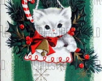 Retro Kitten Kitty Cat In Stocking Christmas Card #478 Digital Download